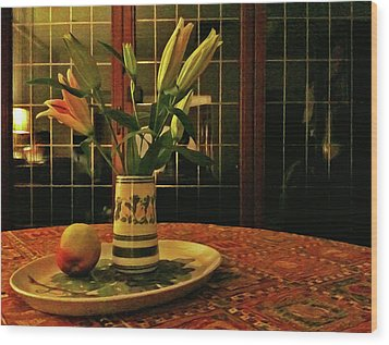 Wood Print featuring the photograph Still Life With Apple by Anne Kotan