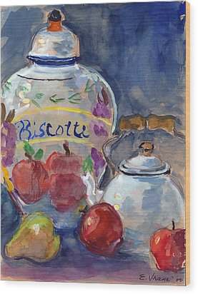 Still Life With Apples And Tea Kettle Wood Print by Ethel Vrana