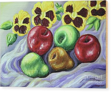 Wood Print featuring the painting Still Life With Apples by Inese Poga