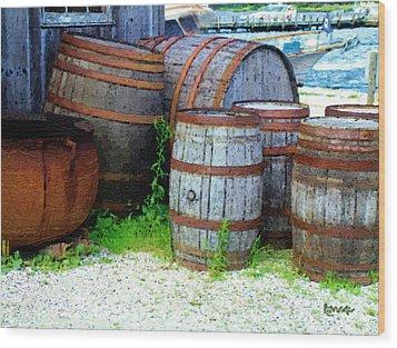 Still Life With Barrels Wood Print by RC DeWinter