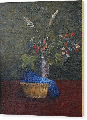 Still Life With Blue Fruit Wood Print by Karin Eisermann