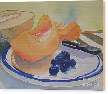 Still Life With Blueberries Wood Print by Teresa Boston