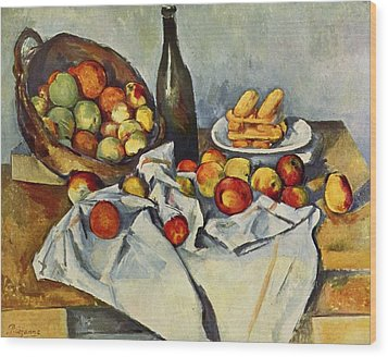 Still Life With Bottle And Apple Basket Wood Print