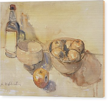Still Life With Bottle And Apples Wood Print