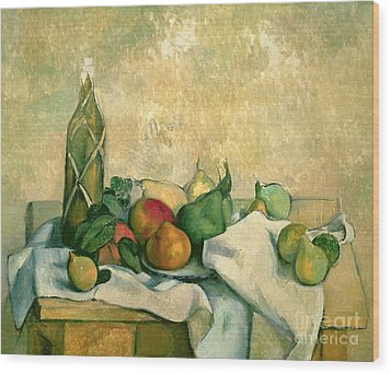 Still Life With Bottle Of Liqueur Wood Print by Paul Cezanne