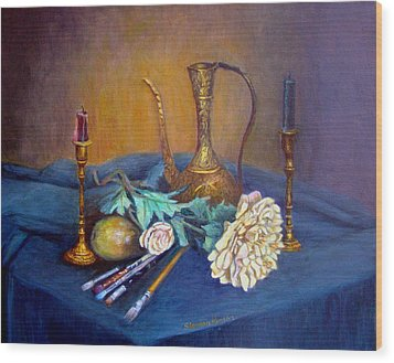 Still Life With Candlesticks And Brass Wood Print by Stephen  Hanson