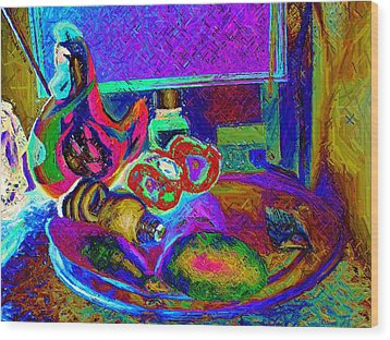 Still Life With Ceramic Chicken Wood Print by Howard Lancaster