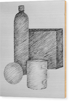 Still Life With Cup Bottle And Shapes Wood Print by Michelle Calkins