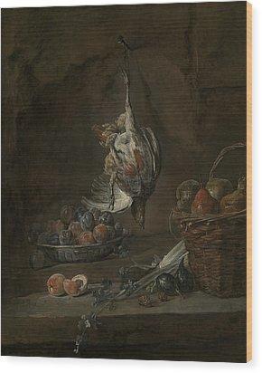 Still Life With Dead Pheasant Wood Print by Jean-Baptiste-Simeon Chardin