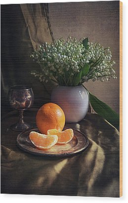 Still Life With Fresh Flowers And Tangerines Wood Print by Jaroslaw Blaminsky