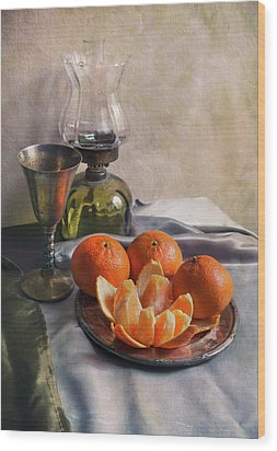 Still Life With Fresh Tangerines And Oil Lamp Wood Print by Jaroslaw Blaminsky