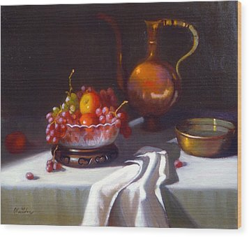 Still Life With Fruit And Cut Glass Bowl Wood Print by David Olander