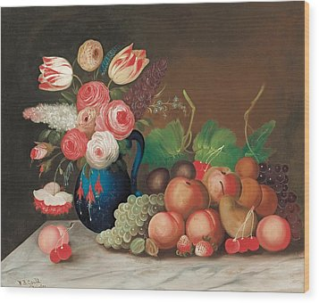 Still Life With Fruit And Flowers Wood Print by William Buelow Gould