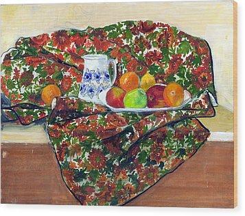 Still Life With Fruit Wood Print by Ethel Vrana