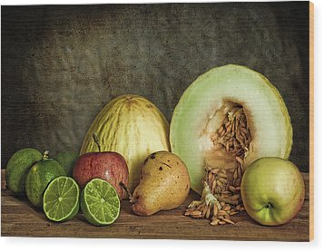 Still Life With Fruit Wood Print by Stefan Nielsen
