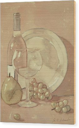 Still Life With Glass And Plate  Wood Print