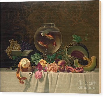 Still Life With Goldfish 1873 Wood Print by Padre Art