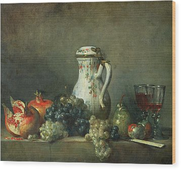 Still Life With Grapes And Pomegranates Wood Print by Jean-Baptiste Simeon Chardin