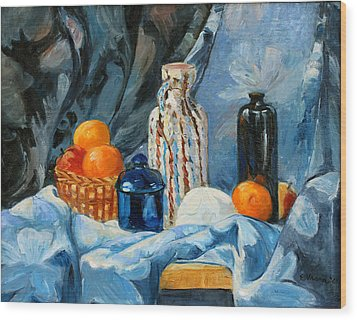 Still Life With Jugs And Oranges Wood Print by Ethel Vrana