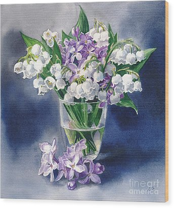 Still Life With Lilacs And Lilies Of The Valley Wood Print by Sergey Lukashin