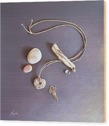 Still Life With Old Key Wood Print by Elena Kolotusha