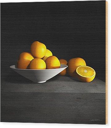 Still Life With Oranges Wood Print by Cynthia Decker