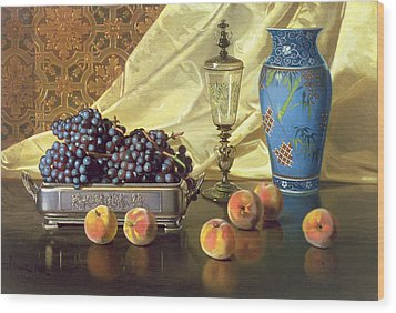 Still Life With Peaches Wood Print by Edward Chalmers Leavitt