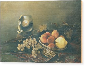 Wood Print featuring the painting Still-life With Peaches by Tigran Ghulyan