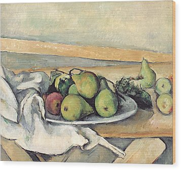 Still Life With Pears Wood Print by Paul Cezanne