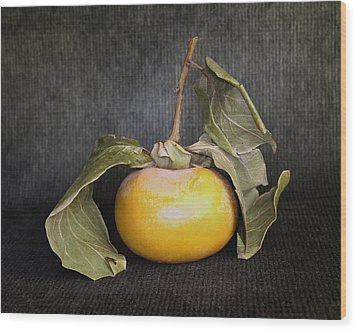 Wood Print featuring the photograph Still Life With Persimmon by Viktor Savchenko