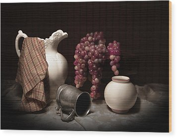 Still Life With Pitcher And Grapes Wood Print by Tom Mc Nemar