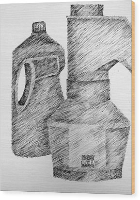 Still Life With Popcorn Maker And Laundry Soap Bottle Wood Print by Michelle Calkins