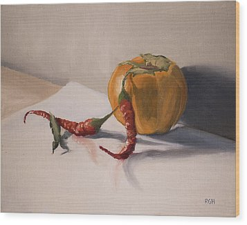 Still Life With Produce Wood Print
