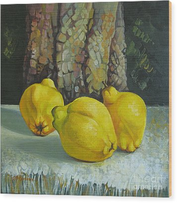 Wood Print featuring the painting Still Life With Quinces by Elena Oleniuc