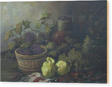 Wood Print featuring the painting Still-life With Quinces by Tigran Ghulyan