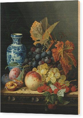 Still Life With Rasberries Wood Print by Edward Ladell