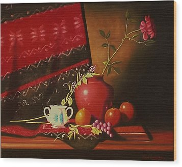 Still Life With Red Vase. Wood Print by Gene Gregory