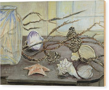 Still Life With Seashells And Pine Cones Wood Print by Ethel Vrana