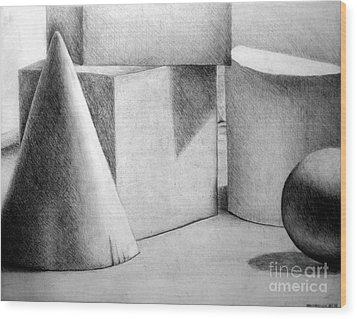 Still Life With Shapes Wood Print by Nancy Mueller