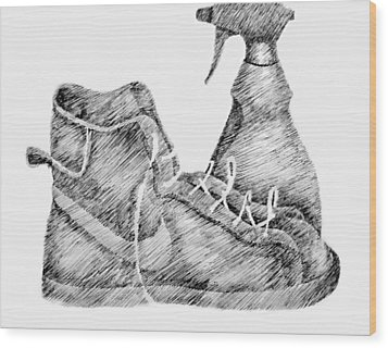 Still Life With Shoe And Spray Bottle Wood Print by Michelle Calkins