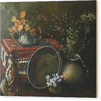 Wood Print featuring the painting Still-life With Snowdrops by Tigran Ghulyan