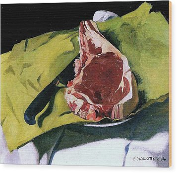 Still Life With Steak Wood Print by Pg Reproductions