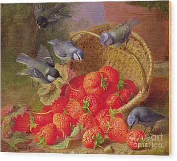 Still Life With Strawberries And Bluetits Wood Print by Eloise Harriet Stannard