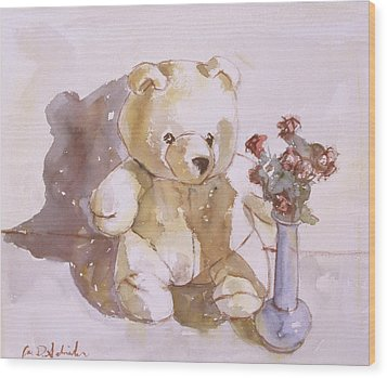 Still Life With Teddy Bear Wood Print