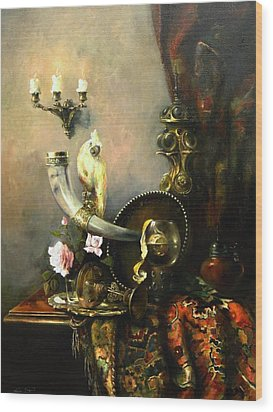 Wood Print featuring the painting Still-life With The Dojra by Tigran Ghulyan