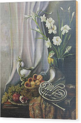 Wood Print featuring the painting Still-life With The French Horn by Tigran Ghulyan