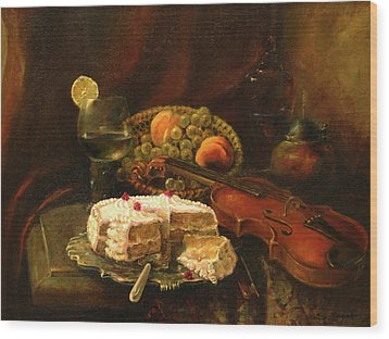 Wood Print featuring the painting Still-life With The Violin by Tigran Ghulyan