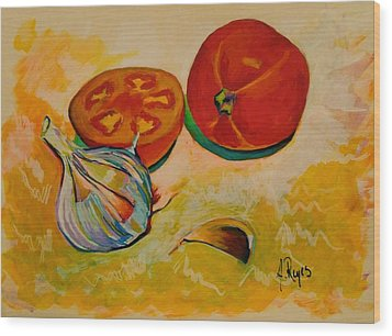 Still Life With Tomatoes And Garlic Wood Print