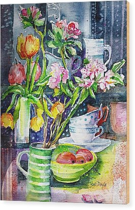 Still Life With Tulips And Apple Blossoms  Wood Print by Trudi Doyle