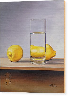 Still Life With Two Lemons And Glass Of Water Wood Print